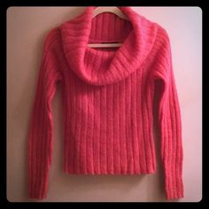 The Limited Mohair Cowl Neck Sweater & Tank S EUC Both in immaculate condition! Sweater is mohair blend, tank is nylon spandex blend. Would kill to fit this. Gorgeous bright coral pink/orange. Pit to pit across front measures 16' & def has some stretch. I have TONS more high end & designer items to list so please check out rest of my stuff! The more you buy, the better the deal! Thanks for looking! The Limited Sweaters Cowl & Turtlenecks