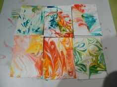 Artistic Paper Using Shaving Cream And Food Dye, Thats Its.  Makes Awesome Looking Paper Designs.  Each One Turns Out Unique.