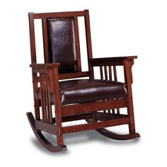 Bring elegance and beauty to your home with this Kapelner rocking chair. This handsome chair features a classic Mission style and a dark oak finish. The solid wood frame adds extra durability, while a