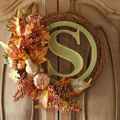 A lovely monogram wreath is the perfect way to welcome your guests this fall.
