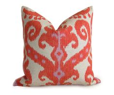 Hey, I found this really awesome Etsy listing at https://www.etsy.com/listing/107850431/pair-of-2-ikat-pillow-covers-orange-red