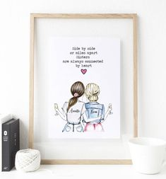 Diy Birthday Gifts For Sister, Sister Gifts, Best Friend Birthday Cards, Birthday Presents, Unique Best Friend Gifts, Gifts For Friends, Mothers Day Drawings, Friends Sketch, Friend Crafts