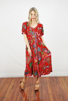 Vtg 80s Red Floral Gauzy India Boho Draped Hippie Ethnic Grunge Maxi Dress M | eBay