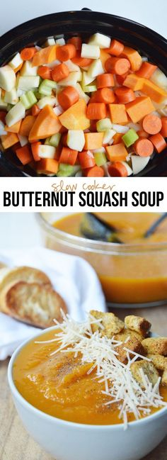 Easy Slow Cooker Butternut Squash Soup - naturally vegan & gluten-free try adding red lentils Slow Cooker Recipes, Crockpot Recipes, Soup Recipes, Vegetarian Recipes, Cooking Recipes, Healthy Recipes, Sausage Crockpot, Slow Cooker Soup Vegetarian, Vegan Soup