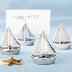 100 Tiny Silver Sailboat Wedding, Engagement and Party Place Card Holders Beach, Nautical, Yacht Theme