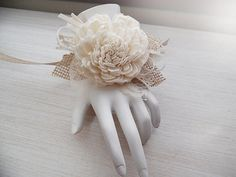 Sola Flower and Burlap & Lace Wrist Corsage. Rustic by PapernLace