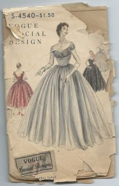 Vintage 1955 Evening Gown Pattern Vogue 4540 'Elizabeth Taylor' Style by lavenderskye on Etsy