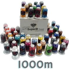 1000m SuperB Embroidery Polyester thread  1000m Fil à broder de polyester SuperB  1 cone/bobine - 2.99$  50 colors/couleurs - 79.99$  Chart available on monfil.ca / Charte disponible sur monfil.ca #EmbroideryThread #Filabroder