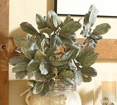 Faux Glittery Green Leaf Branch #potterybarn
