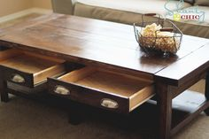 DIY Pottery Barn Table (http://www.shanty-2-chic.com/2012/02/diy-pottery-barn-inspired-benchwright-coffee-table.html)