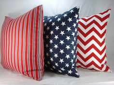 Red White and Blue Decorative Pillows Accent by CreativeTouchDecor, $52.95.             I love the one on the right and the one in the middle.