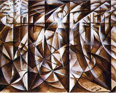 Giacomo Balla - Velocity of Cars and Light, 1913, oil on cardboard, 109 x 84 cm