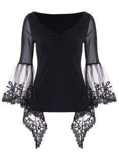Only US11.17, buy S bell sleeve lace insert t-shirt Black at online long sleeves shop, sammydress.com Mobile.