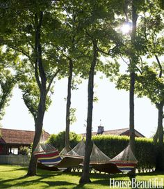 Four L.L. Bean hammocks amid the trees are very tempting on a lazy afternoon.
