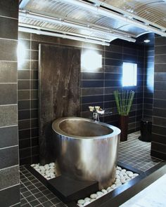 Contemporary Bathroom With Stainless Steel Japanese Soaking Tub And Black Wall Tiles And Floors Japanese Soaking Tub For More Rejuvenating Bath Check more at http://www.wearefound.com/japanese-soaking-tub-for-more-rejuvenating-bath/