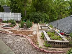 Our raised bed gardens made with recycled cinder and patio block-with little invested in some bark and a few bags of river rock :)