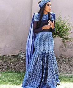 Latest Shweshwe Traditional Dresses for Bridesmaids 2016 & Accessories - Reny styles Latest African Fashion Dresses, African Dresses For Women, African Print Dresses, African Print Fashion, African Clothes, African Women, African Wedding Attire, African Attire, African Wear
