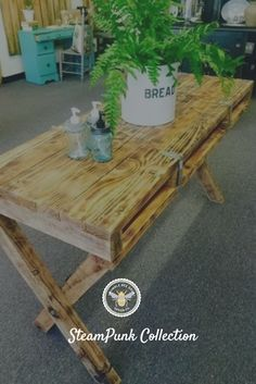 Steampunk Re-Purposed Cargo Pallet Table                                                                                                                                                     More