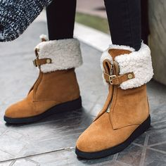 73.80$  Buy now - http://ali6yh.worldwells.pw/go.php?t=32759645571 - Women's Platform Flats Front Zip Ankle Boots Brand Designer Metal Buckle Genuine Suede Leather Real Wool Fur Inside Winter Shoes 73.80$