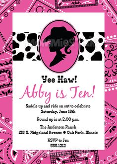 Cowgirl Silhouette Western Theme Birthday Invitation or shower