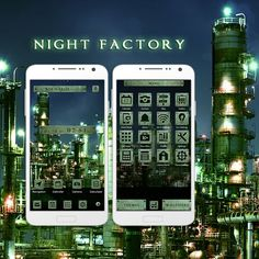 """Night Factory"" Available From:2/8 '16 (EST) All the detailed parts and lights built into this factory make it look like something straight out of a masterpiece of film! http://app.android.atm-plushome.com/app.php/app/themeDetail?material_id=1420&rf=pinterest #wallpaper #design #icon #beautiful #plushome  #homescreen #widget #deco"