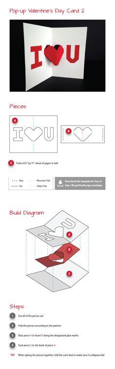 valentinesdaycardinstructions1  DIY  Pop Up  Pinterest