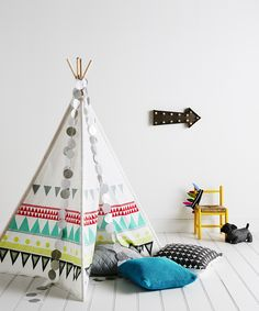 Adairs Kids Geo Teepee - Home & Gifts Gifts & Toys - Adairs Kids online Childrens Room Decor, Nursery Room Decor, Kids Decor, Kids Bedroom, Nursery Ideas, Bedroom Ideas, Teepee Kids, Teepee Tent, Play Tents