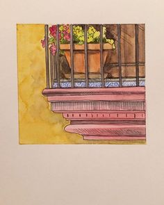 #ispyapi #Repost from current student @grace.bekah  Spanish balcony: cropped in color  #watercolor #ink #inkandpen #paint #draw #illustration #godisgood #studyabroad #travel #spain #balcony #architecture #explore #outdoors #sketch #sketchbook #sevilla #flowers #color #creativeuprising #sketchcollector #yellow #red #practice #daily #art #artist