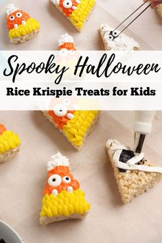 Make this Halloween memorable with these cute and easy Halloween Rice Krispie Treats! Take your rice krispie treats to the next level and create a new Halloween tradition at the same time. These Halloween treats make great Halloween party foods as well. Halloween desserts have never tasted so sweet! #thebearfootbaker #halloweenbaking #halloweentreatideas #ricekrispietreats