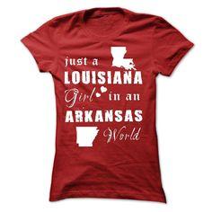LOUISIANA GIRL IN ARKANSAS T-Shirts, Hoodies. SHOPPING NOW ==► https://www.sunfrog.com/States/LOUISIANA-GIRL-IN-ARKANSAS-Ladies.html?id=41382