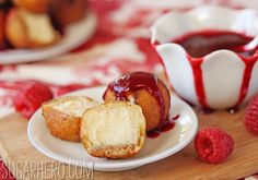 Deep-Fried Cheesecake with Raspberry Sauce