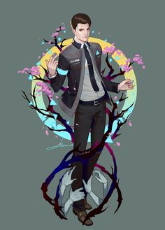 Detroit become human Connor By: LY 炼妖 <<that is some amazing art Detroit Being Human, Detroit Become Human Connor, Fanart, Luther, Cartoon Network, Playstation, Quantic Dream, Becoming Human, I Like Dogs