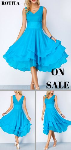 Blue Band Waist Layered Chiffon Dress .From parties and formal dinners to  work events and 949a202096