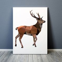 Animal art Stag print Geometric deer poster Colorful decor TO307-1