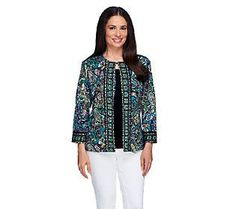 Joan Rivers Perfect Paisley Knit Jacket with 3/4 Sleeves