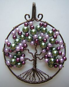 Green and Purple Tree of Life Wire Wrapped Pendant