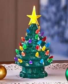 Battery Operated Christmas Tree Tabletop Retro Lighted Holiday Decor Green Small #Retro