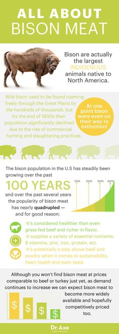 Bison meat is leaner and healthier than even grass-fed beef, and there are many bison meat benefits beyond that. Here are six reasons to try it now! Bison Meat: 6 Reasons to Try It Now (It's Lean Healthy Oils, Healthy Eating Tips, Healthy Nutrition, Healthy Recipes, Nutrition Guide, Meat Recipes, Clean Eating, Dinner Recipes, Bison Recipes