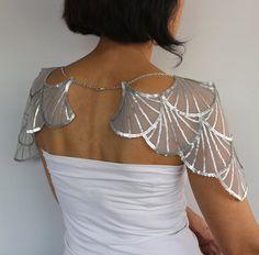 Shoulder Chain Bridal Shrug Metallic Gray Sequin by MammaMiaBridal Sequin Wedding, Wedding Cape, Gold Wedding, Marlene Hose, Flapper, Bridal Bolero, Vintage Mode, Current Fashion Trends, Capelet