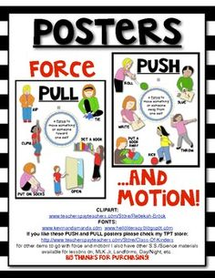 Force and Motion: PUSH and PULL Science Posters (set of 2) for the Classroom. Print 8 1/2 X 11 or Enlarge! $