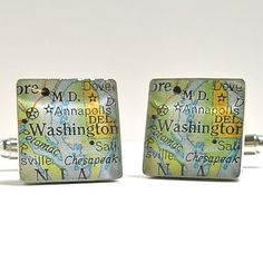 Washington DC USA Map Sterling Silver Square by dlkdesigns on Etsy