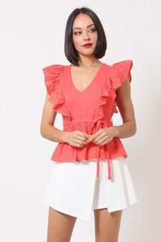 """L-Crotchet Peplum top w/ self -front tie-V-Neck with ruffle front designs and on shoulder-Zipper on the Rayon NylonDusty Rose VAL Crotchet Peplum Top W/ Self -front Tie Item Measurements: SIZE SMeasurements: SIZE SLength:"""" Waist:"""" Bust:"""" Nylons, African Head Wraps, Fashion 2020, Fashion Trends, Fashion Styles, Womens Fashion, Front Tie Top, Victoria Dress, Front Design"""