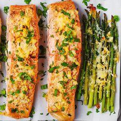 Garlic Parmesan Crusted Salmon and Asparagus