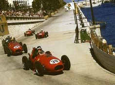 #.-38 Mike Hawthorn (Ferrari), #34.- Luigi Musso (Ferrari), #8.- Harry Schell (BRM), #40.- Wolfgang von Trips (Ferrari)1958 Monaco Grand Prix