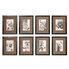 Set of 8 Framed Burlap and Botanical Prints - Shades of Light