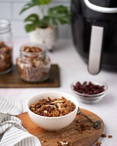 Fast, easy, and utterly delicious homemade granola that is easily adaptable to the ingredients I have on hand. Use your air fryer and pantry ingredients to make a delicious and simple homemade granola great for a healthy and fast breakfast the whole family loves! Make this recipe and you'll never want to buy it from the store again.