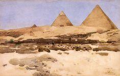 The Athenaeum - The Pyramids (Arthur Melville - ) Watercolor Portrait Painting, Watercolor Landscape, Landscape Paintings, Oil Paintings, Landscapes, National Museum Of Wales, Modern Artists, Vintage Artwork, Cool Art