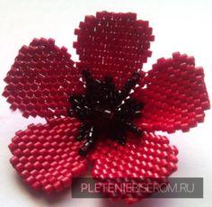 Цветок из бисера в технике кирпичиком