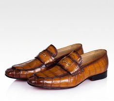 Casual Alligator Shoes, Luxury Alligator Slip-On Loafers for Men-Brown