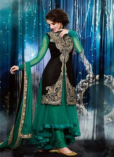 Teal And Black Embroidered Patch Border Work Net Anarkali Suit, Product Code :6789, shop now http://www.sareesaga.com/charming-teal-and-black-embroidered-patch-border-work-net-anarkali-suit-6789  Email :support@sareesaga.com What's App or Call : +91-9825192886